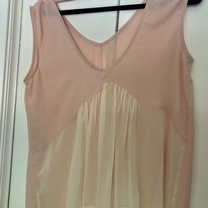 Pink and white babydoll top